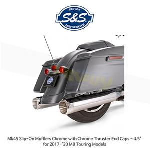 """S&S 에스엔에스 머플러 Mk45 슬립온 할리데이비슨 M8 투어링(17-20) 모델용 크롬/크롬색상 스러스터 엔드캡 - 4.5"""""""