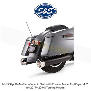 """S&S 에스엔에스 머플러 Mk45 슬립온 할리데이비슨 M8 투어링(17-20) 모델용 세라믹 블랙/크롬 트레이서 엔드캡 - 4.5"""""""