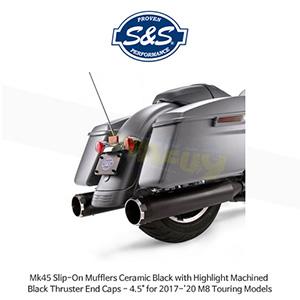 """S&S 에스엔에스 머플러 Mk45 슬립온 할리데이비슨 M8 투어링(17-20) 모델용 세라믹 블랙 하이라이트 처리된 블랙 스러스터 엔드캡 - 4.5"""""""