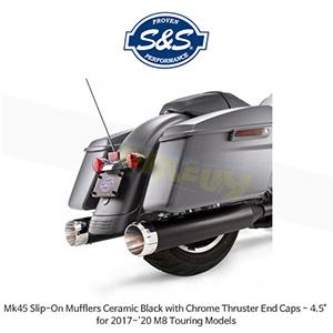 """S&S 에스엔에스 머플러 Mk45 슬립온 할리데이비슨 M8 투어링(17-20) 모델용 세라믹 블랙/크롬 스러스터 엔드캡 - 4.5"""""""
