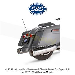 "S&S 에스엔에스 머플러 Mk45 슬립온 할리데이비슨 M8 투어링(17-20) 모델용 크롬/크롬 트레이서 엔드캡 - 4.5"""