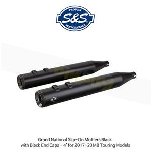 """S&S 에스엔에스 머플러 그랜드 네셔널 슬립온 할리데이비슨 M8 투어링(17-20) 모델용 블랙/블랙 엔드캡 - 4"""""""