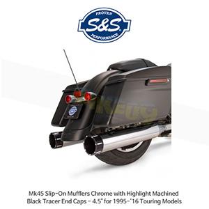 "S&S 에스엔에스 머플러 Mk45 슬립온 할리데이비슨 투어링(95-16) 모델용 크롬색상 하이라이트 처리된 블랙 트레이서 엔드캡 - 4.5"""