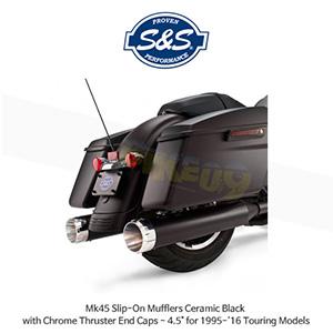 """S&S 에스엔에스 머플러 Mk45 슬립온 할리데이비슨 투어링(95-16) 모델용 세라믹 블랙/크롬 스러스터 엔드캡 - 4.5"""""""