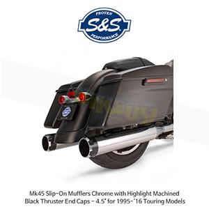 "S&S 에스엔에스 머플러 Mk45 슬립온 할리데이비슨 투어링(95-16) 모델용 크롬색상 하이라이트 처리된 블랙 스러스터 엔드캡 - 4.5"""