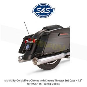 "S&S 에스엔에스 머플러 Mk45 슬립온 할리데이비슨 투어링(95-16) 모델용 크롬/크롬 스러스터 엔드캡 - 4.5"""