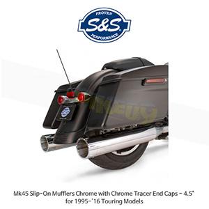 "S&S 에스엔에스 머플러 Mk45 슬립온 할리데이비슨 투어링(95-16) 모델용 크롬/크롬 트레이서 엔드캡 - 4.5"""