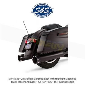 "S&S 에스엔에스 머플러 Mk45 슬립온 할리데이비슨 투어링(95-16) 모델용 세라믹 블랙색상 하이라이트 처리된 블랙 트레이서 엔드캡 - 4.5"""