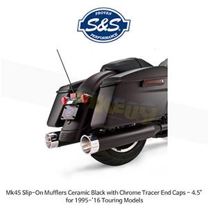 """S&S 에스엔에스 머플러 Mk45 슬립온 할리데이비슨 투어링(95-16) 모델용 세라믹 블랙/크롬 트레이서 엔드캡 - 4.5"""""""