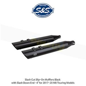 """S&S 에스엔에스 머플러 슬래쉬 컷 슬립온 할리데이비슨 M8 투어링(17-20) 모델용 블랙색상 슬래쉬 다운 엔드 - 4"""""""