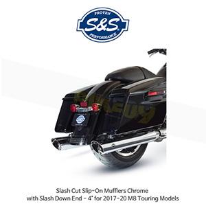 """S&S 에스엔에스 머플러 슬래쉬 컷 슬립온 할리데이비슨 M8 투어링(17-20) 모델용 크롬색상 슬래쉬 다운 엔드 - 4"""""""