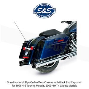 """S&S 에스엔에스 머플러 할리데이비슨 투어링(95-16)/트리글라이드(09-19) 모델용 그랜드 네셔널 슬립온 크롬/블랙 엔드캡 - 4"""""""