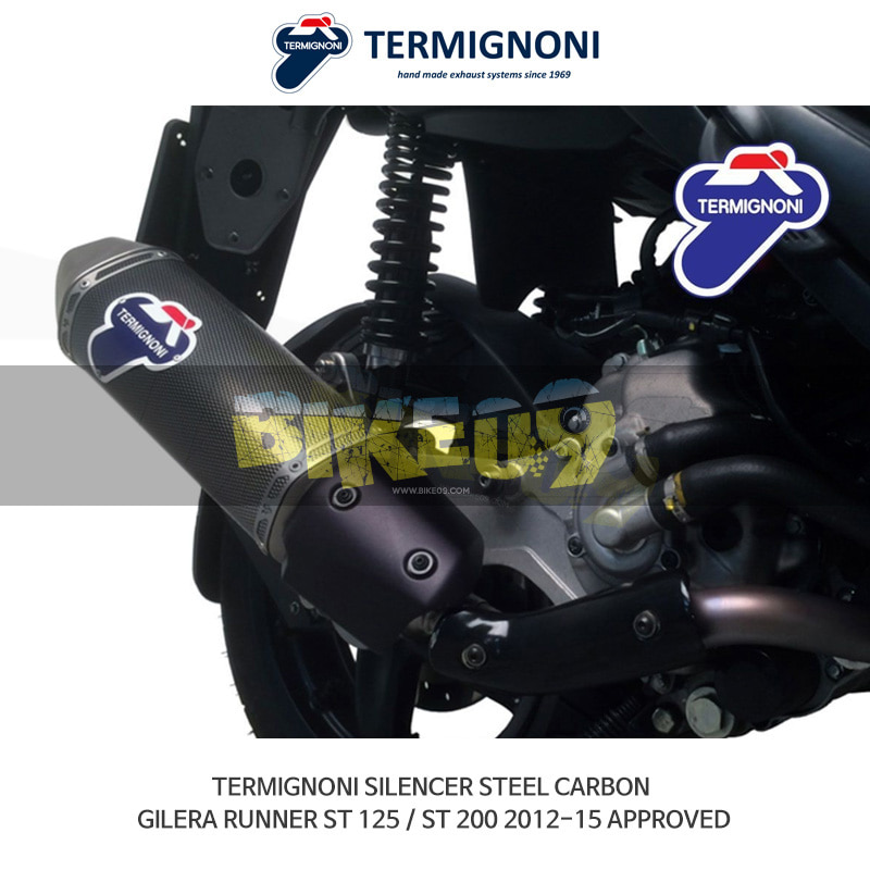 떼르미뇨니 오토바이 머플러 GILERA 질레라 러너 ST125/ST200 (12-15) 스틸 카본 APPROVED 슬립온