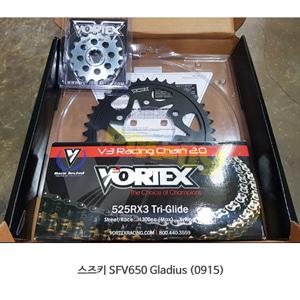볼텍스 스즈키 SFV650 글라디우스 (0915) 대소기어체인세트 골드 CKG6408