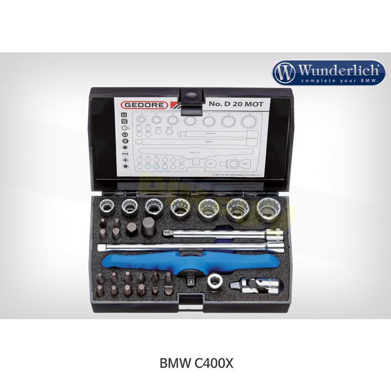 """분덜리히 BMW 모토라드 C400X Gedore 툴 키트 1/4 """" 30피스 - 블랙 색상 21380-000"""
