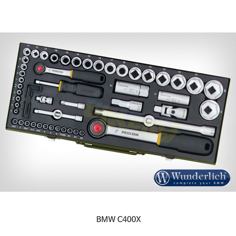 """분덜리히 BMW 모토라드 C400X Proxxon 소켓 세트 1/4 """" + 1/2 """" 56-part 41880-200"""